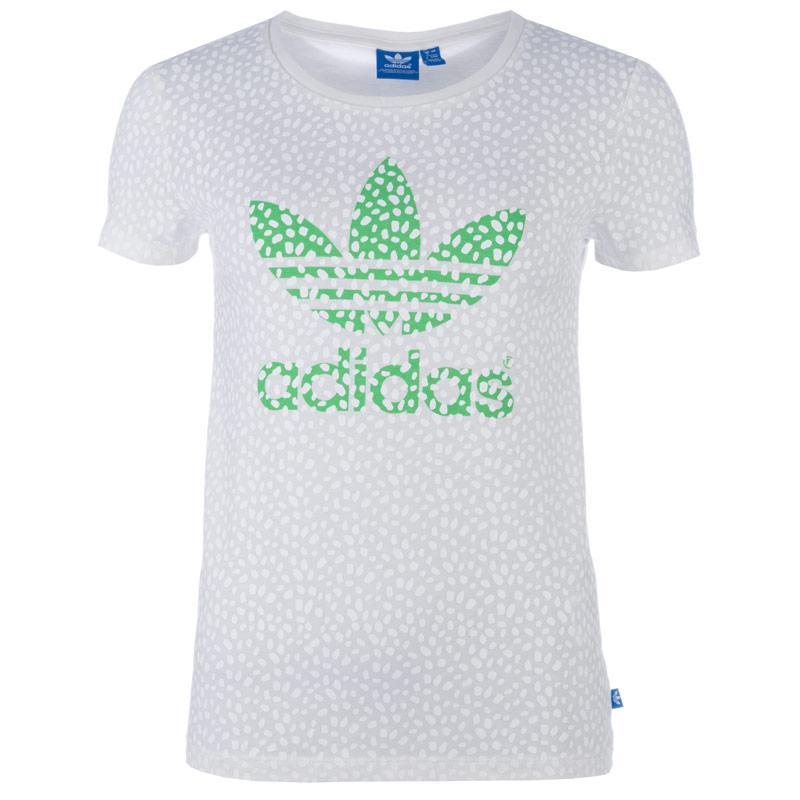 Adidas Originals Womens Allover Print Logo T-Shirt White
