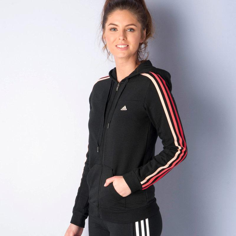 Mikina s kapucí Adidas Womens Essentials 3S Hooded Track Top Grey Marl, Velikost: 4-7 (37-41)