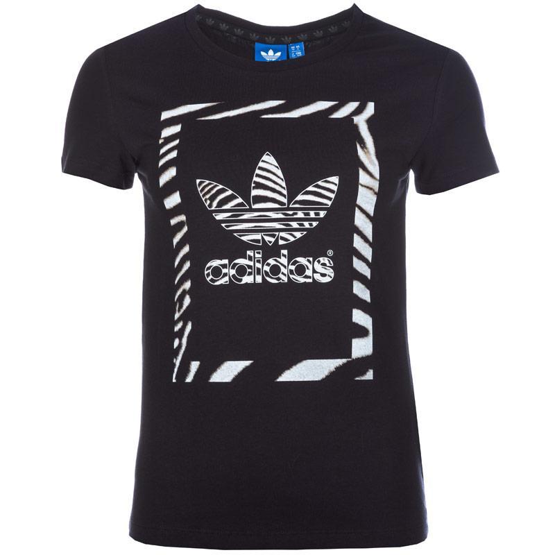 Adidas Originals Womens Zebra Trefoil T-Shirt Black