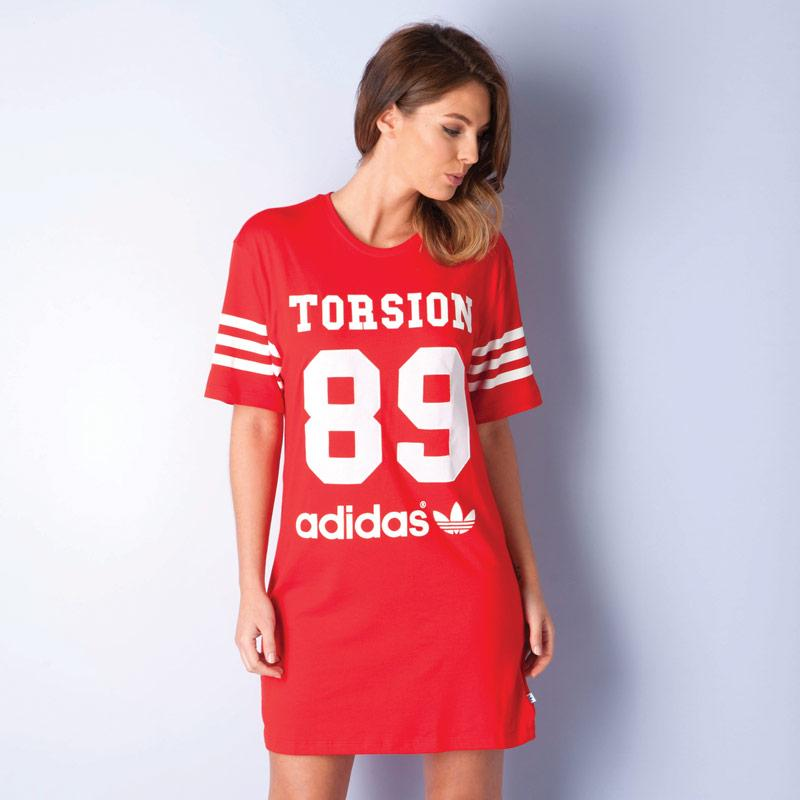 Šaty Adidas Originals Womens Torsion 89 Dress Red, Velikost: 8 (XS)