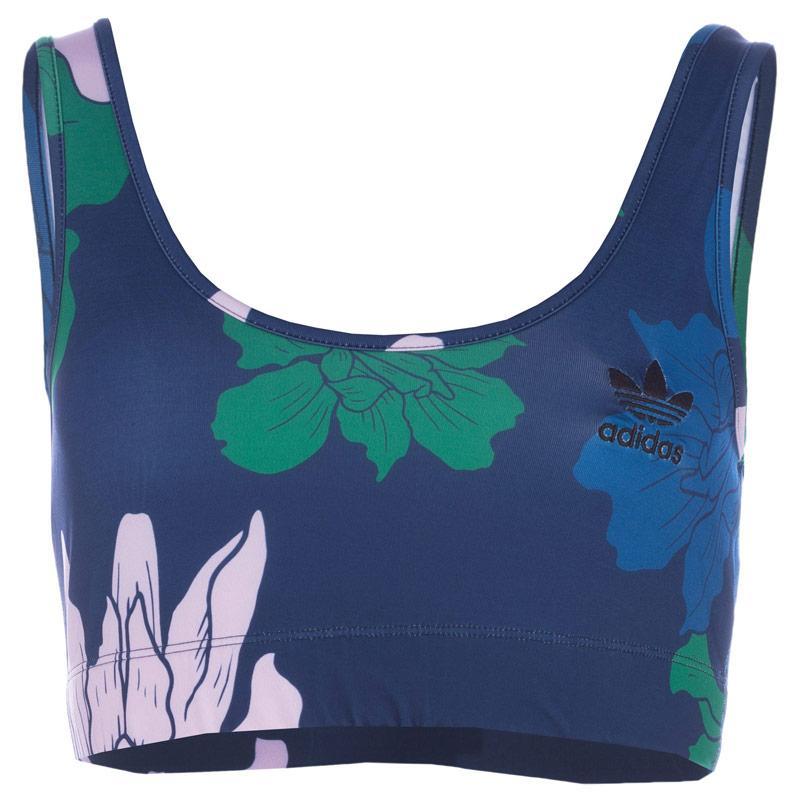 Adidas Originals Womens Floral Engraving Bra Top Blue