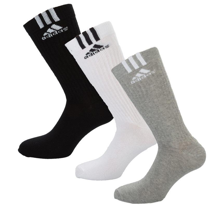 Ponožky Adidas Mens Crew T 3 Pack Socks Black Grey White