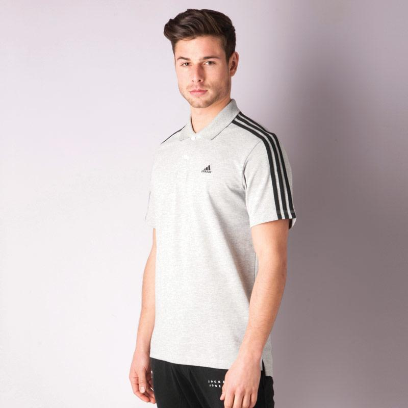 Adidas Mens Essentials 3S Polo Shirt White Black, Velikost: S