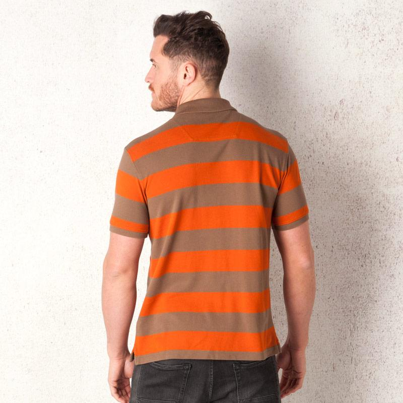 Timberland Mens Rugby Block Stripe Polo Shirt Orange