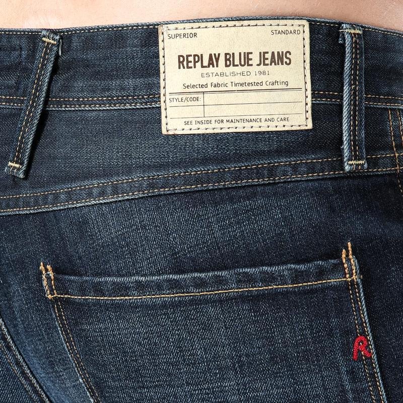 Replay Mens Anbass Slim Fit Jeans Indigo