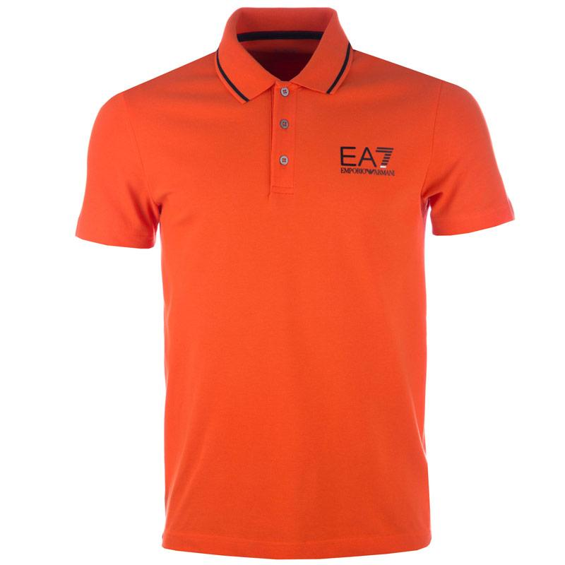 Emporio Armani EA7 Mens Train Core ID Polo Shirt Orange