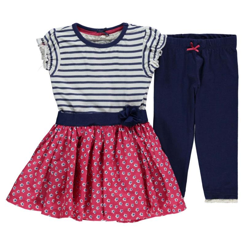 Šaty Crafted 2 Piece Dress Set Infant Girls Floral/ Stripe