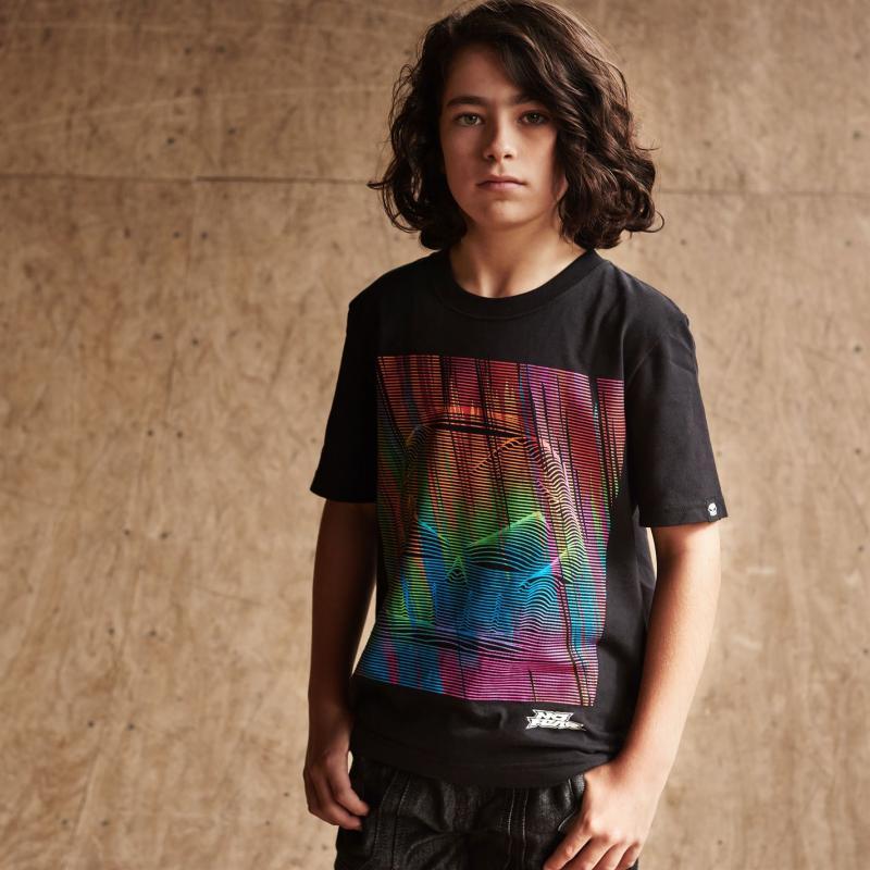 Tričko No Fear Moto Graphic T Shirt Junior Boys Green Skull