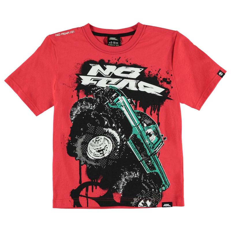 Tričko No Fear Moto Graphic T Shirt Junior Boys Black Stunt