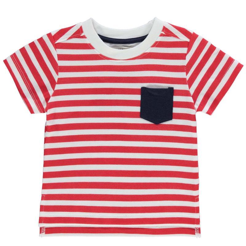 Tričko Crafted Short Sleeve Stripe T Shirt Infant Boys Red/White