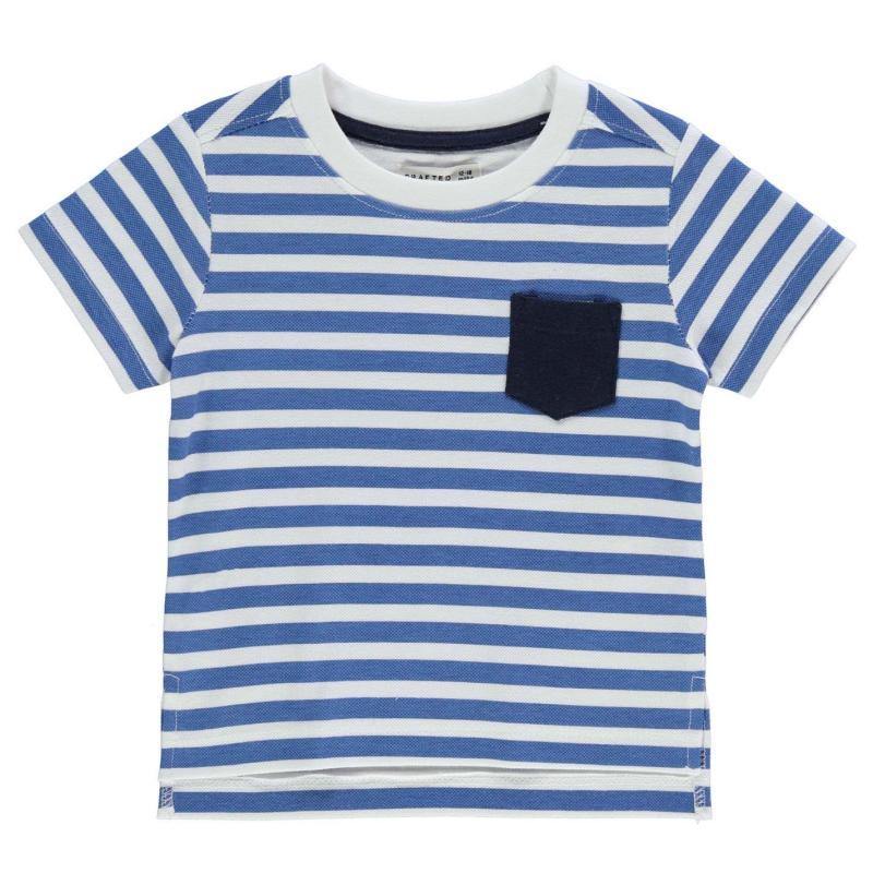 Tričko Crafted Short Sleeve Stripe T Shirt Infant Boys Blue/White