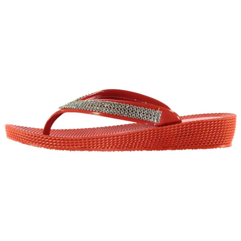 SoulCal Diamante Toe Post Ladies Sandals Red