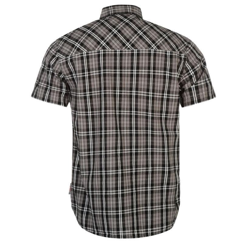 Košile Lee Cooper Short Sleeve Check Shirt Mens Grey/Blk/White