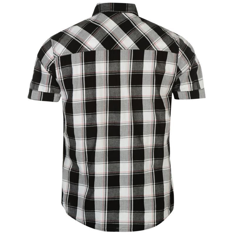 Košile Lee Cooper Short Sleeve Check Shirt Mens Black/White/Red