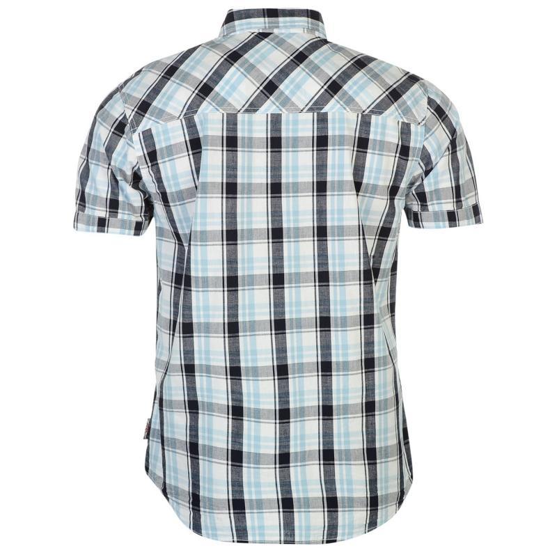 Košile Lee Cooper Short Sleeve Check Shirt Mens White/Navy/Blue