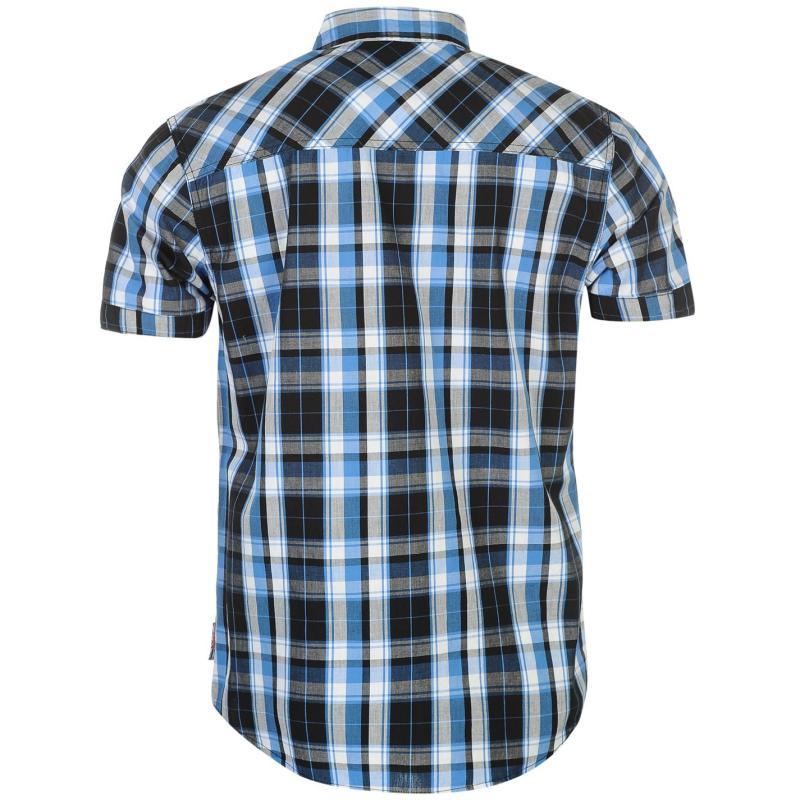 Košile Lee Cooper Short Sleeve Check Shirt Mens Black/Wht/Blue