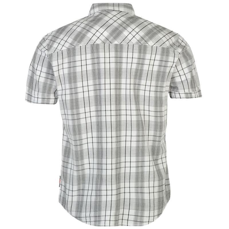 Košile Lee Cooper Short Sleeve Check Shirt Mens White/Black