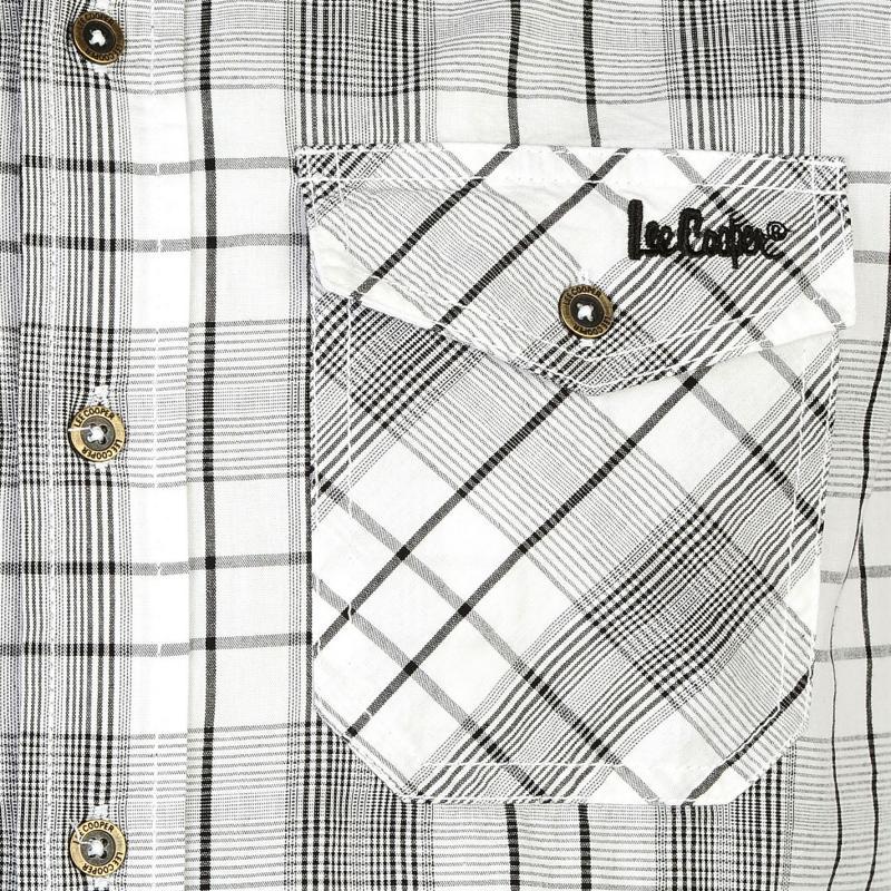 Košile Lee Cooper Short Sleeve Check Shirt Mens Green/Whte/Blue