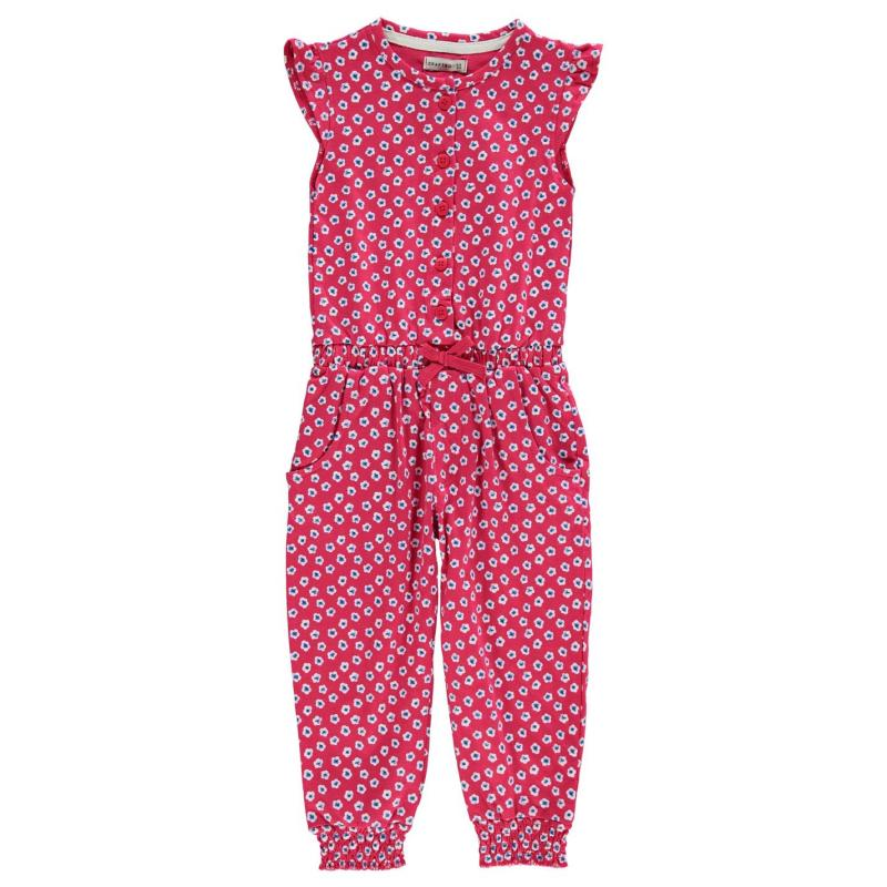 Šaty Crafted AOP Jumpsuit Child Girls Red Floral Aop