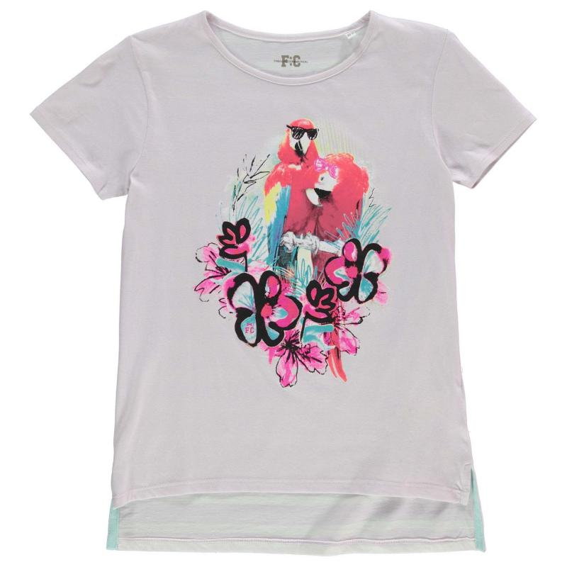 French Connection Floral Parrot T Shirt Junior Girls Orchard Ice