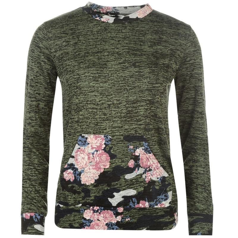 Svetr Golddigga Pocket Crew Neck Sweater Ladies Khaki