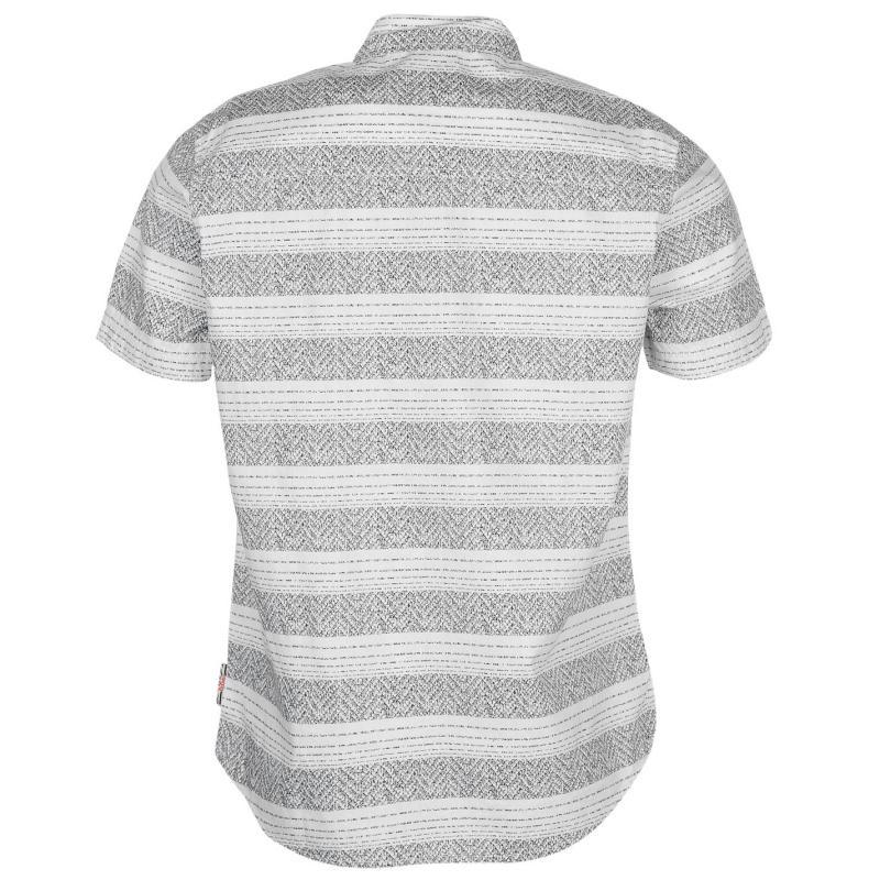 Košile Lee Cooper All Over Print Texture Shirt Mens White/Grey...