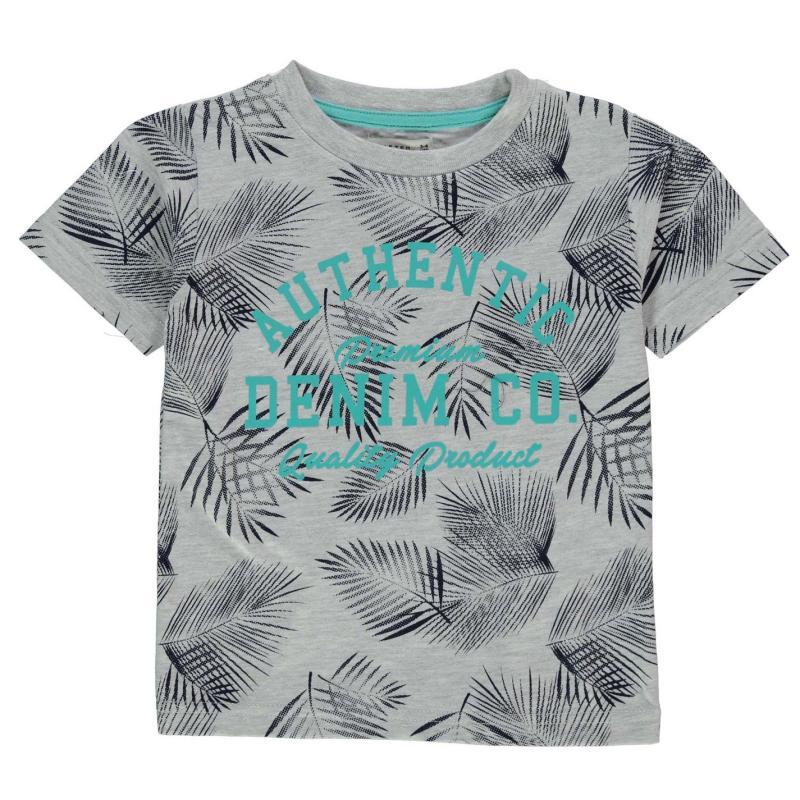Tričko Crafted AOP Palm T Shirt Child Boys Grey Marl