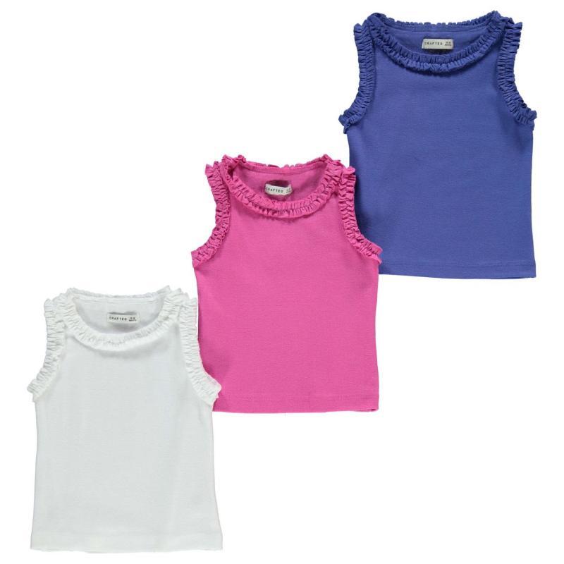 Crafted 3 pack Frill Vests Infant Girls Summer Multi