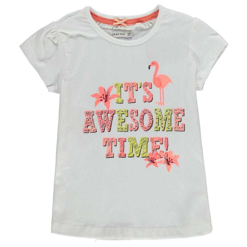 Crafted Awesome Flaming T Shirt Child Girls White