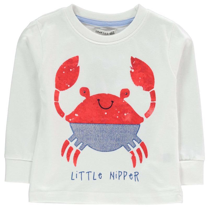 Tričko Crafted Long Sleeve T Shirt Infant Boys White