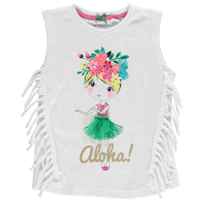 Crafted Fringed Character T Shirt Child Girls Cream