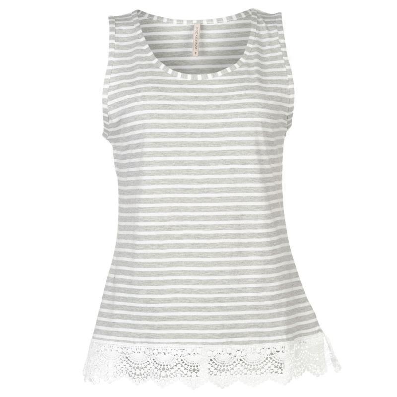 Rock and Rags Stripe Crochet Vest Grey Marl/White