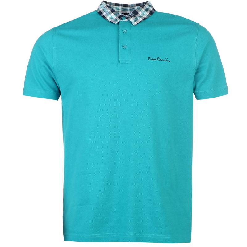 Pierre cardin check collar polo shirt mens teal for Mens teal polo shirt