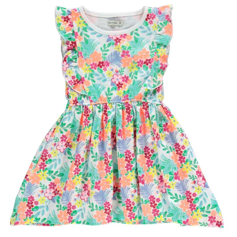 Šaty Crafted Flower Jersey Dress Child Girls Aop Floral