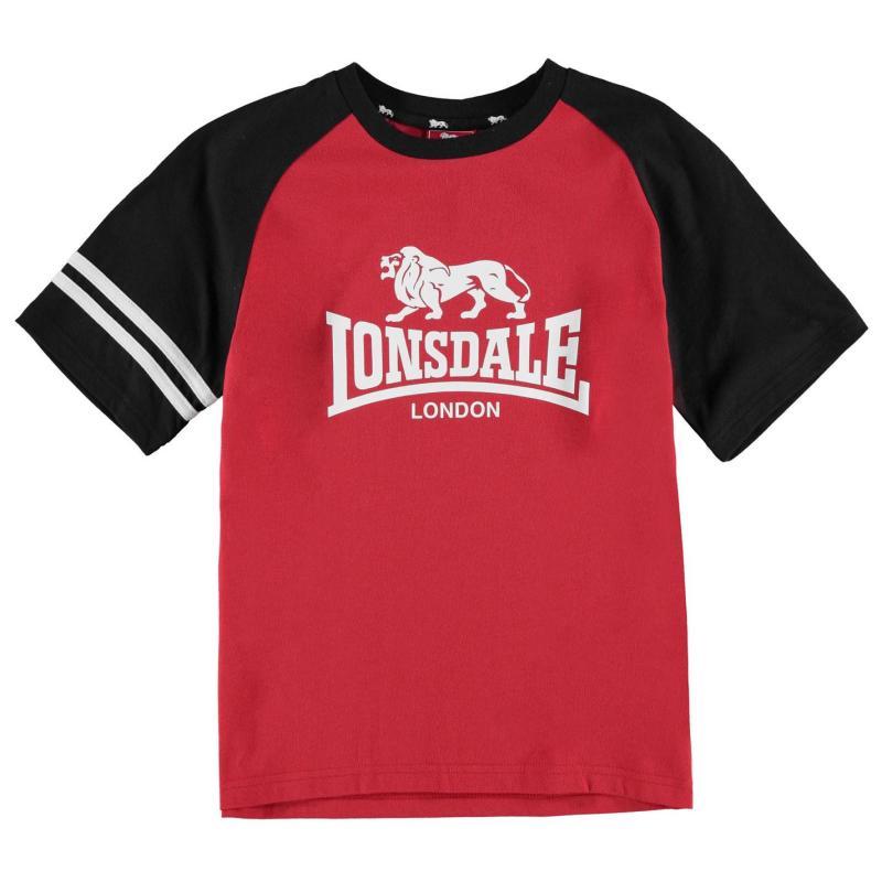 Tričko Lonsdale Large Logo Raglan T Shirt Junior Boys Red