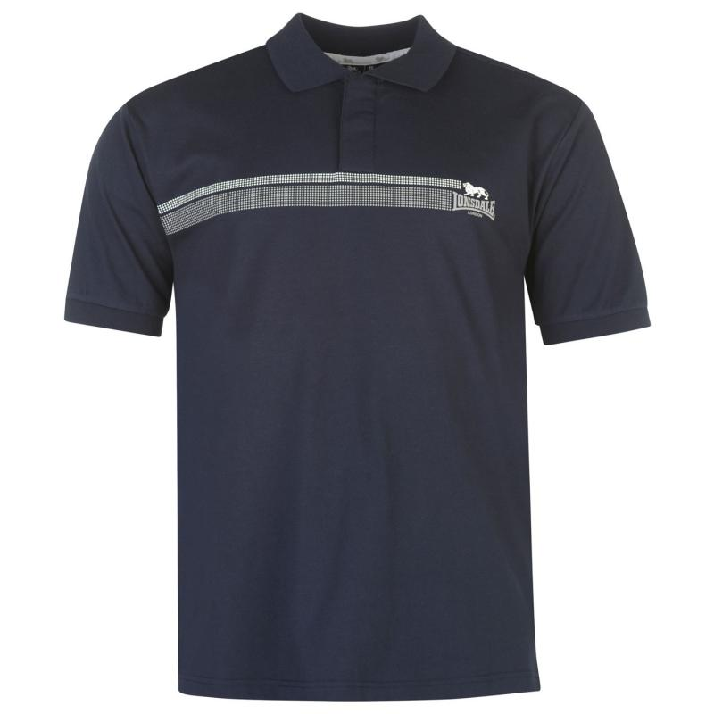 Lonsdale 2 Stripe Polo Shirt Mens Navy