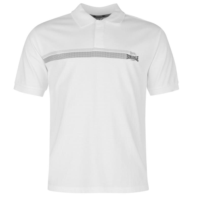 Lonsdale 2 Stripe Polo Shirt Mens White