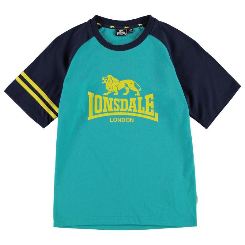 Tričko Lonsdale Large Logo Raglan T Shirt Junior Boys Teal