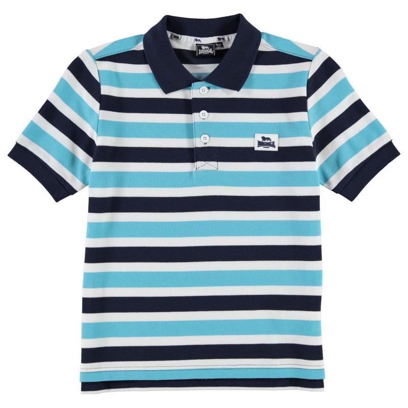 Lonsdale Yard Stripe Polo Shirt Junior Boys Black/Charc/Red