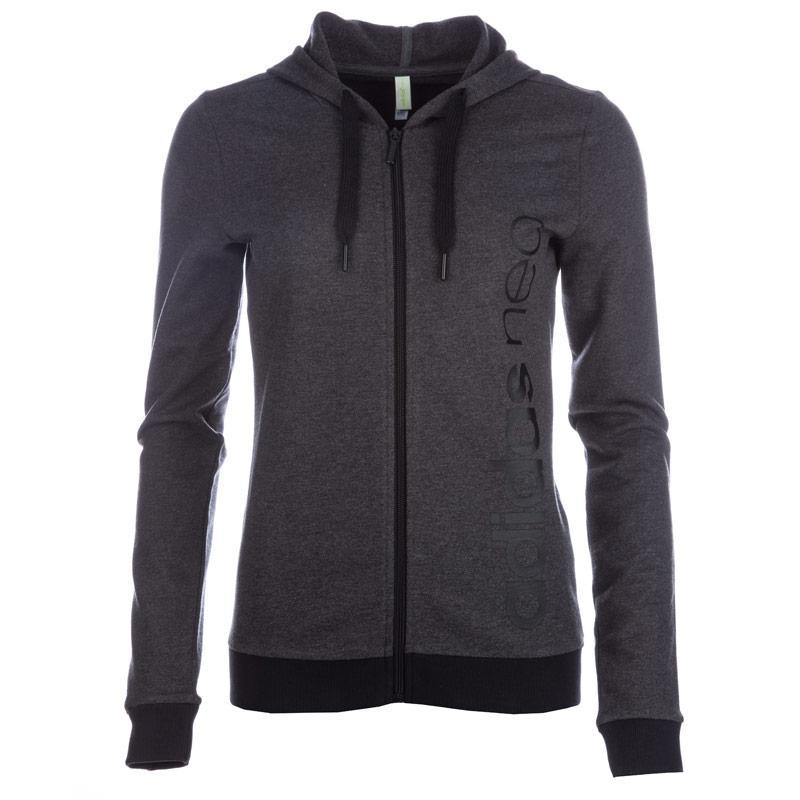 Mikina s kapucí Adidas Neo Womens Logo Zip Hoody Black, Velikost: 12 (M)
