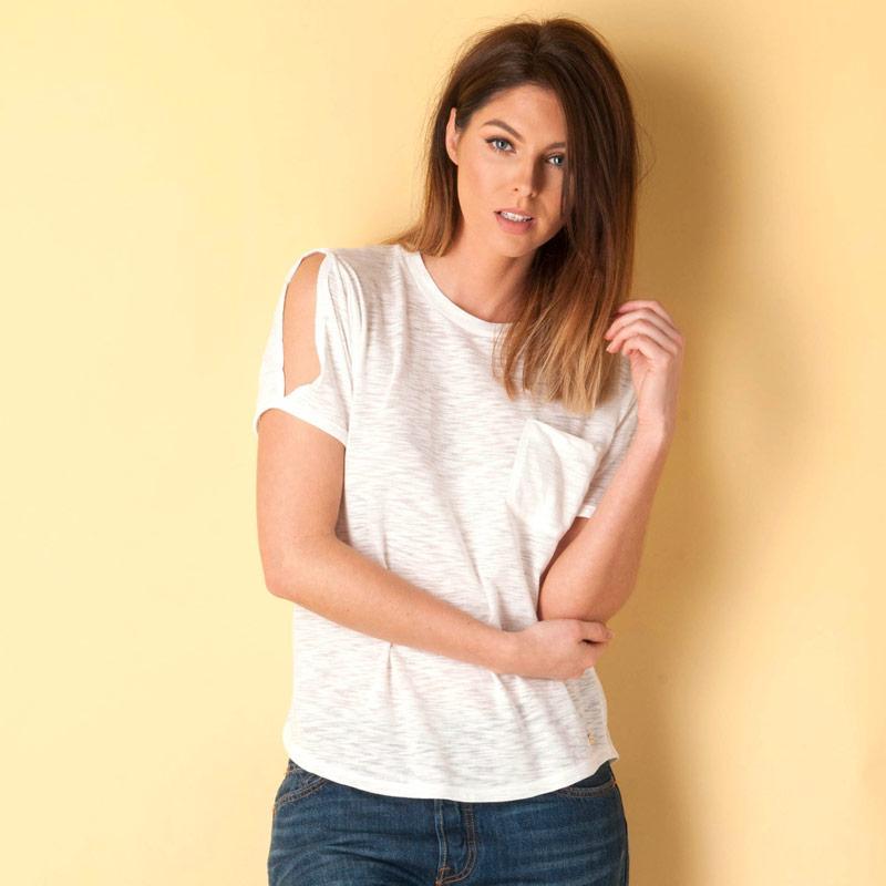 Bench Womens Slub T-Shirt Cream