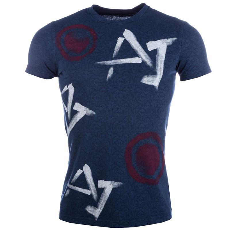 Tričko Armani Mens Print T-Shirt Blue, Velikost: L