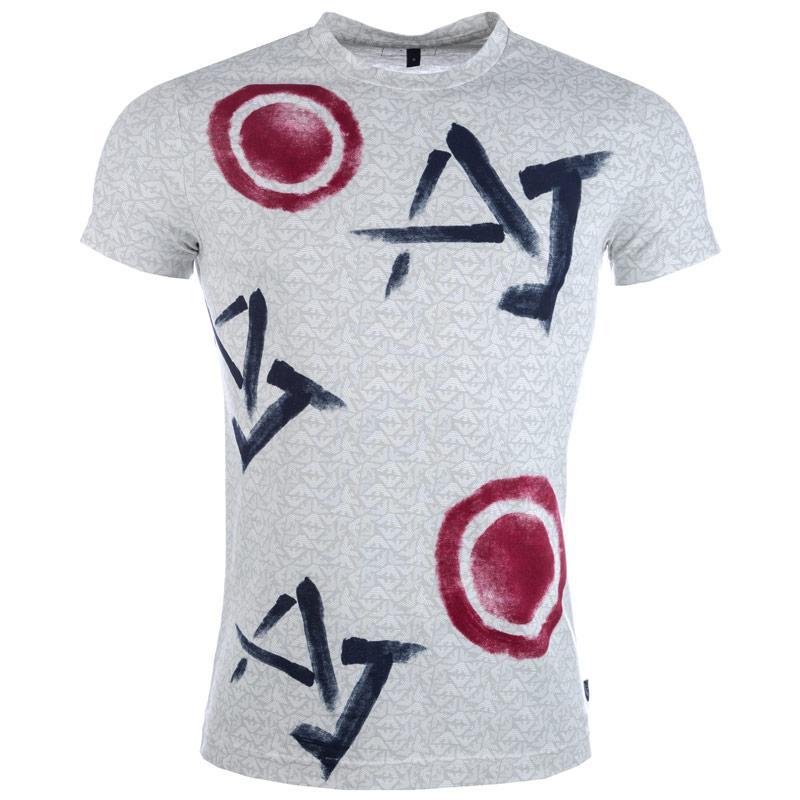 Tričko Armani Mens Print T-Shirt Grey, Velikost: L