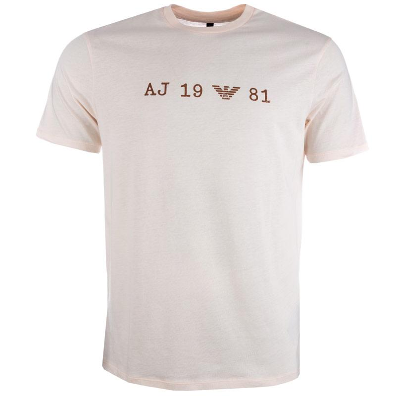 Tričko Armani Mens Print T-Shirt Peach, Velikost: S