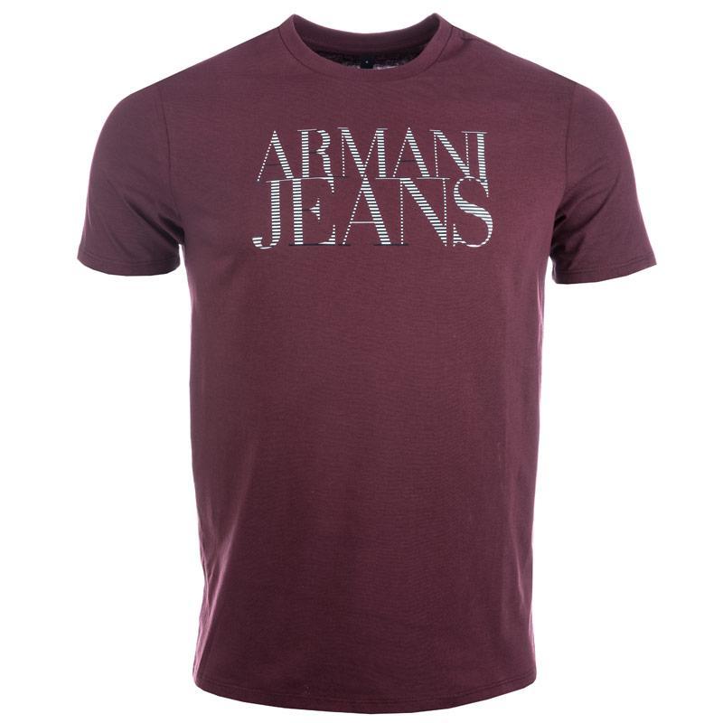 Tričko Armani Mens Print T-Shirt Burgundy, Velikost: S