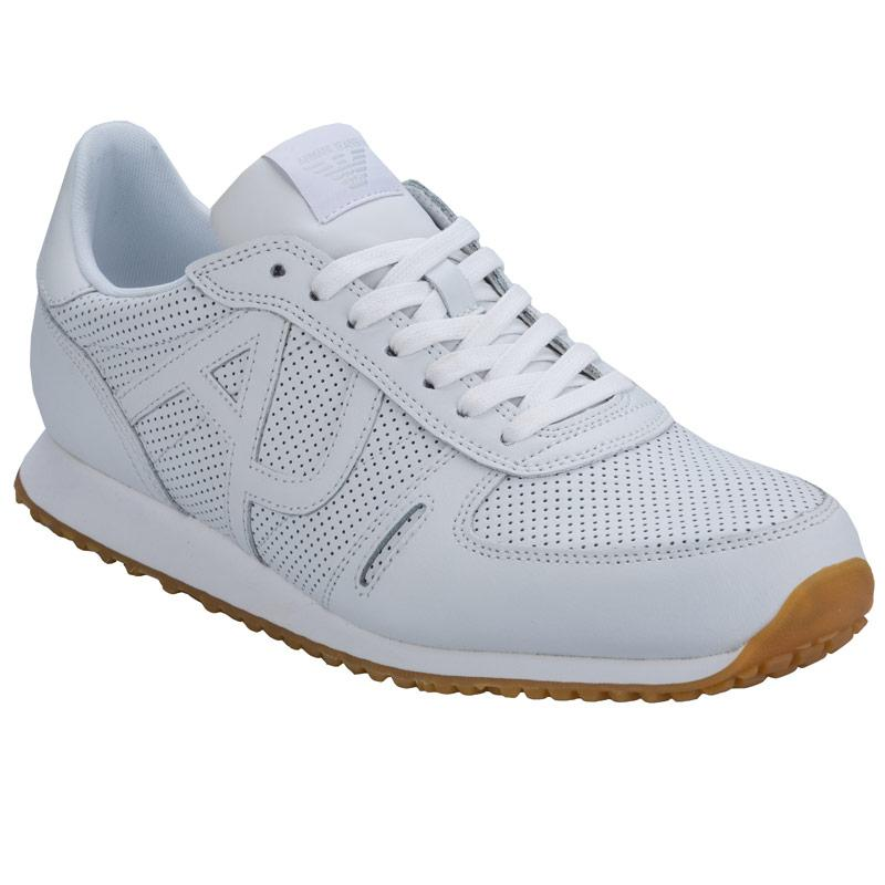 Boty Armani Mens Leather Low Top Trainers White, Velikost: UK6 (euro 39)
