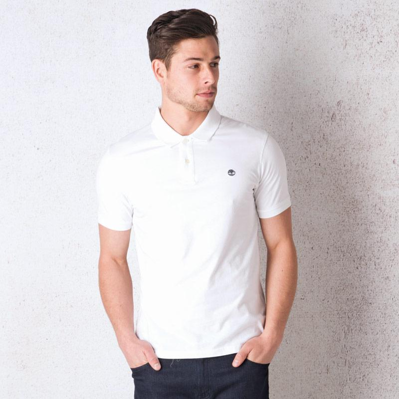 Timberland Mens SS Kennebec River Brush Polo Shirt White