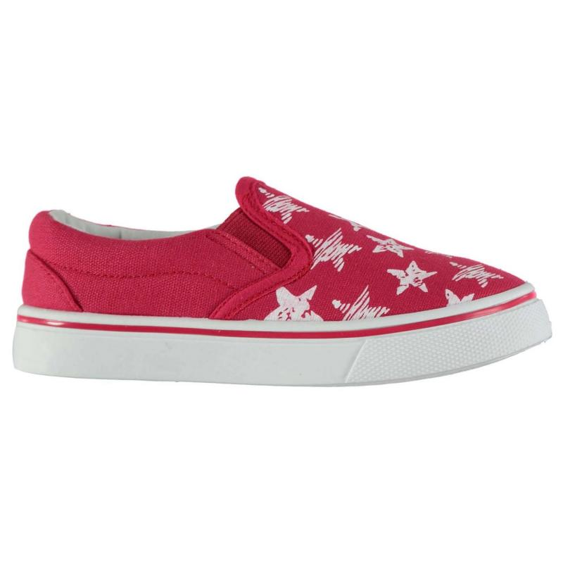 Crafted Gusset Printed Canvas Shoes Unisex Children Star Print Red