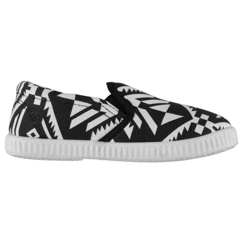 Crafted Print Slip On Canvas Pumps Childrens Aztec
