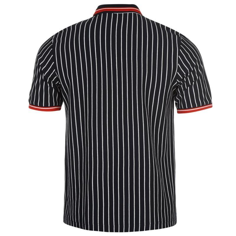 Slazenger Pinstripe Retro Polo Shirt Mens Navy